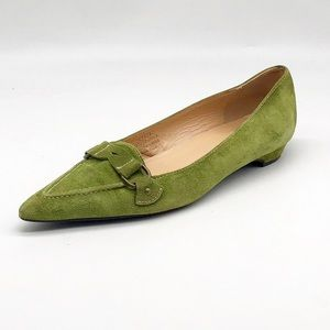 J. Crew Classic Pointed Toe Green Suede Loafers